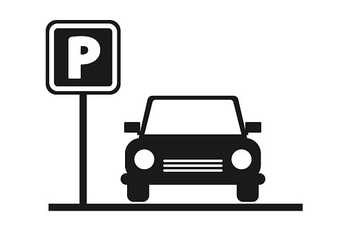 Parking space. Parking zone. Black parking sign