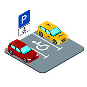 parking place for the invalid, marking and road sign, cars in the parking lot isomtrict image