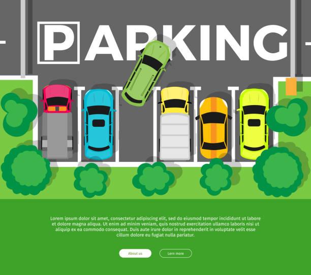 ilustrações de stock, clip art, desenhos animados e ícones de parking top view vector web banner in flat design - driveway, no people