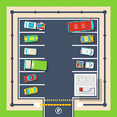 Poster of closed parking area with barrier administration building and different vehicles top view flat vector illustration