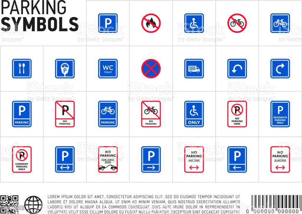 Parking zone sign isolated icon set vector art illustration