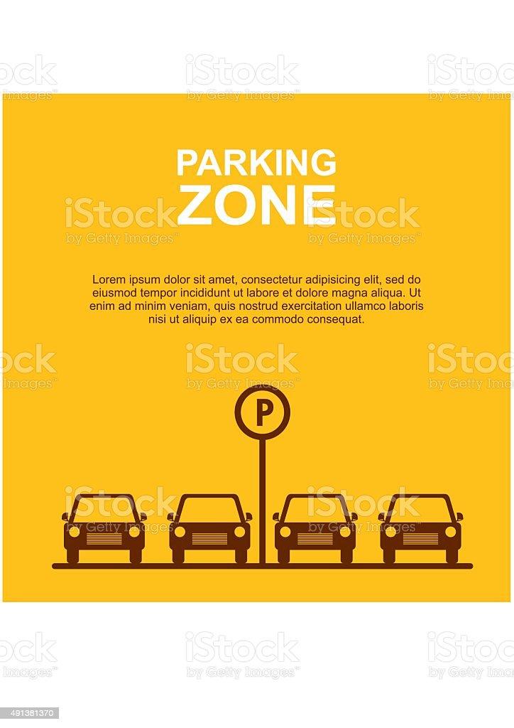 Parking Zone yellow background. Vector vector art illustration