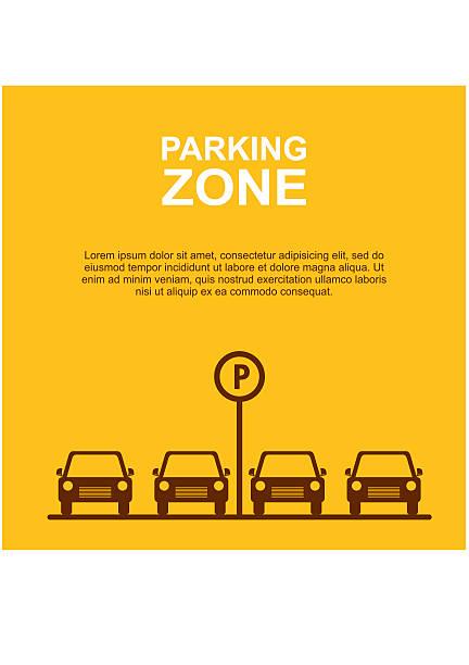 illustrations, cliparts, dessins animés et icônes de parking zone jaune-plan. vecteur - gare