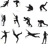 Dynamic movement of athletes. Crossing barriers