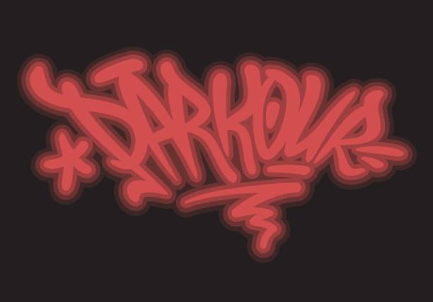 bildbanksillustrationer, clip art samt tecknat material och ikoner med parkour borste bokstäver typ design graffiti tag stil glöd ljuseffekt vektorbild - parkour
