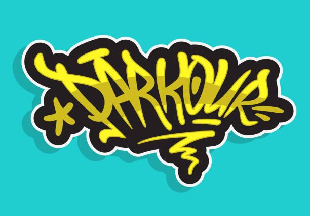 Parkour Brush Lettering Type Design Graffiti Tag Style Vector Graphic vector art illustration