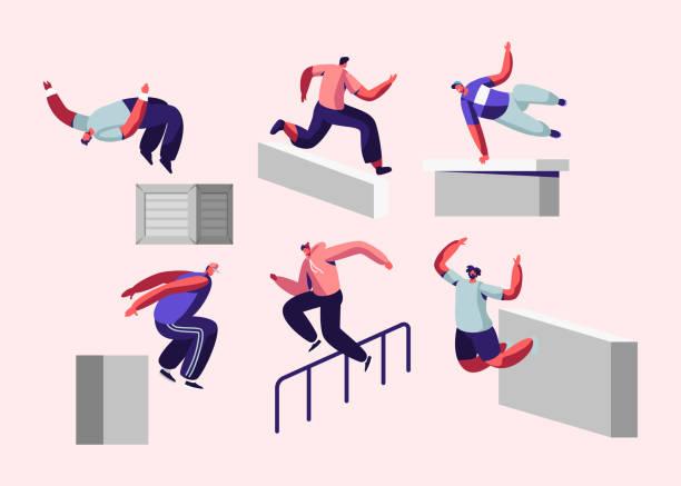bildbanksillustrationer, clip art samt tecknat material och ikoner med parkour i city. unga män hoppar över murar och barriärer, urban sport, aktiv livsstil, idrott aktivitet. tonåringar tricks på gatan, gratis runner utbildning utomhus, cartoon flat vektor illustration - parkour