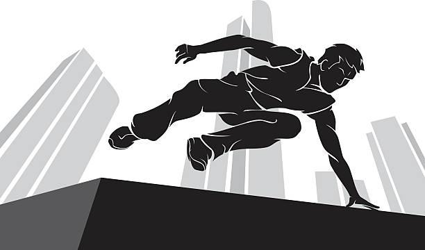 bildbanksillustrationer, clip art samt tecknat material och ikoner med parkour jump silhouette - parkour
