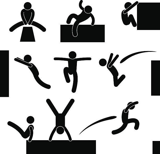 bildbanksillustrationer, clip art samt tecknat material och ikoner med parkour man jumping climbing leap pictogram - parkour