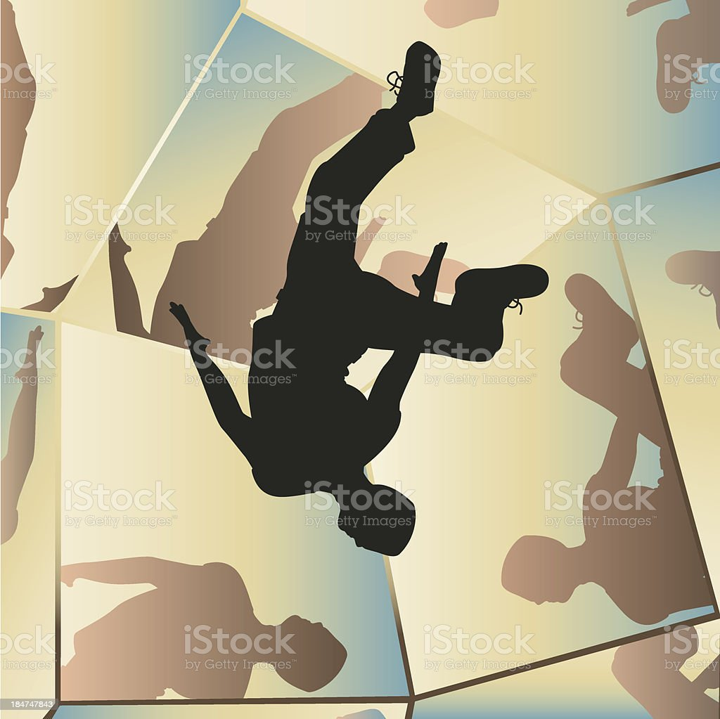 Parkour mirrors vector art illustration