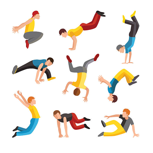 bildbanksillustrationer, clip art samt tecknat material och ikoner med parkour tricks extreme sport people vector silhouette - parkour