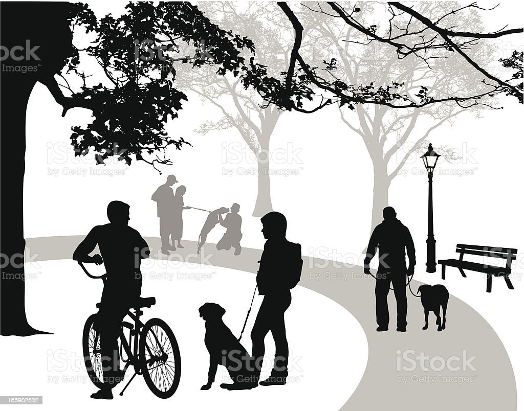 Parks'n Dogs Vector Silhouette royalty-free stock vector art