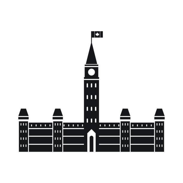 Parlamentsgebäude, Ottawa-Symbol im einfachen Stil – Vektorgrafik