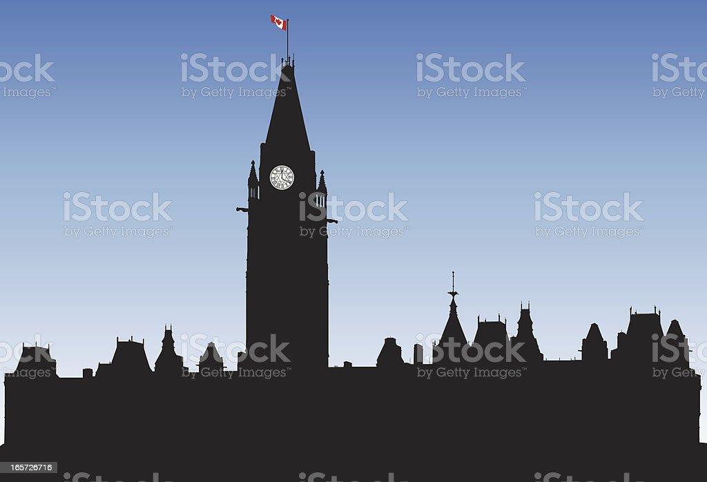 Parliament Buildings, Ottawa vector art illustration