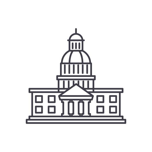 ilustrações, clipart, desenhos animados e ícones de conceito de ícone do parlamento linha. ilustração em vetor parlamento linear, símbolo, sinal - capitel