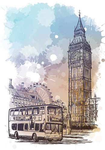Parliament square, Westminster, London, UK. Linear sketch on a watercolor textured background.