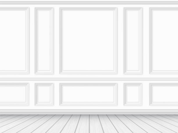 ilustrações de stock, clip art, desenhos animados e ícones de parquet floor and white paneled wall background - white wall