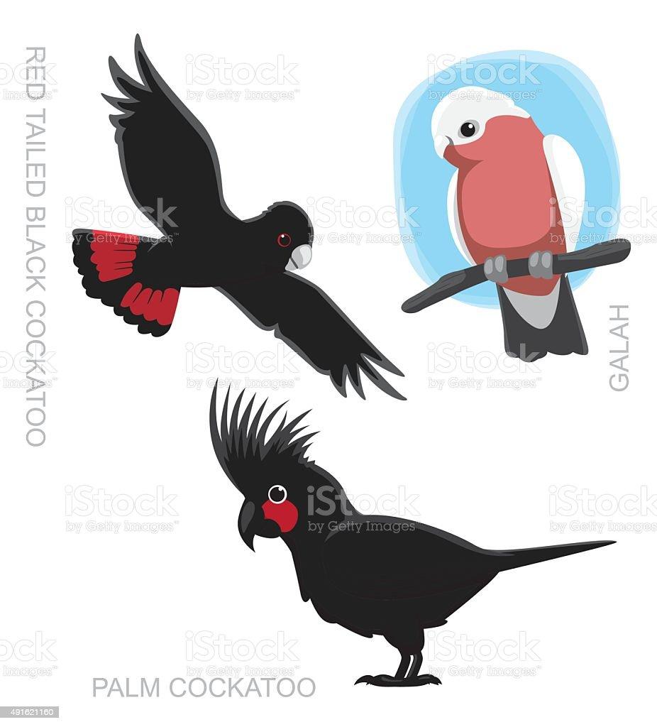 Parrot Australian Cockatoo Cartoon Vector Illustration vector art illustration