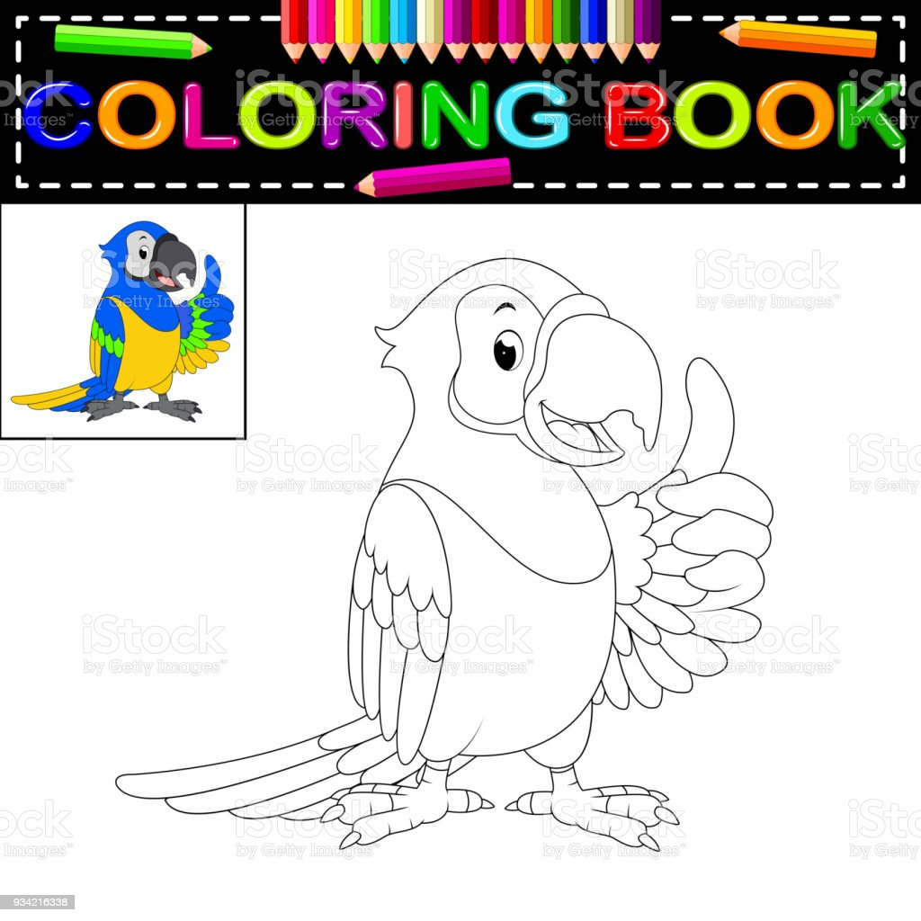 parrot coloring book royalty-free parrot coloring book stock illustration - download image now
