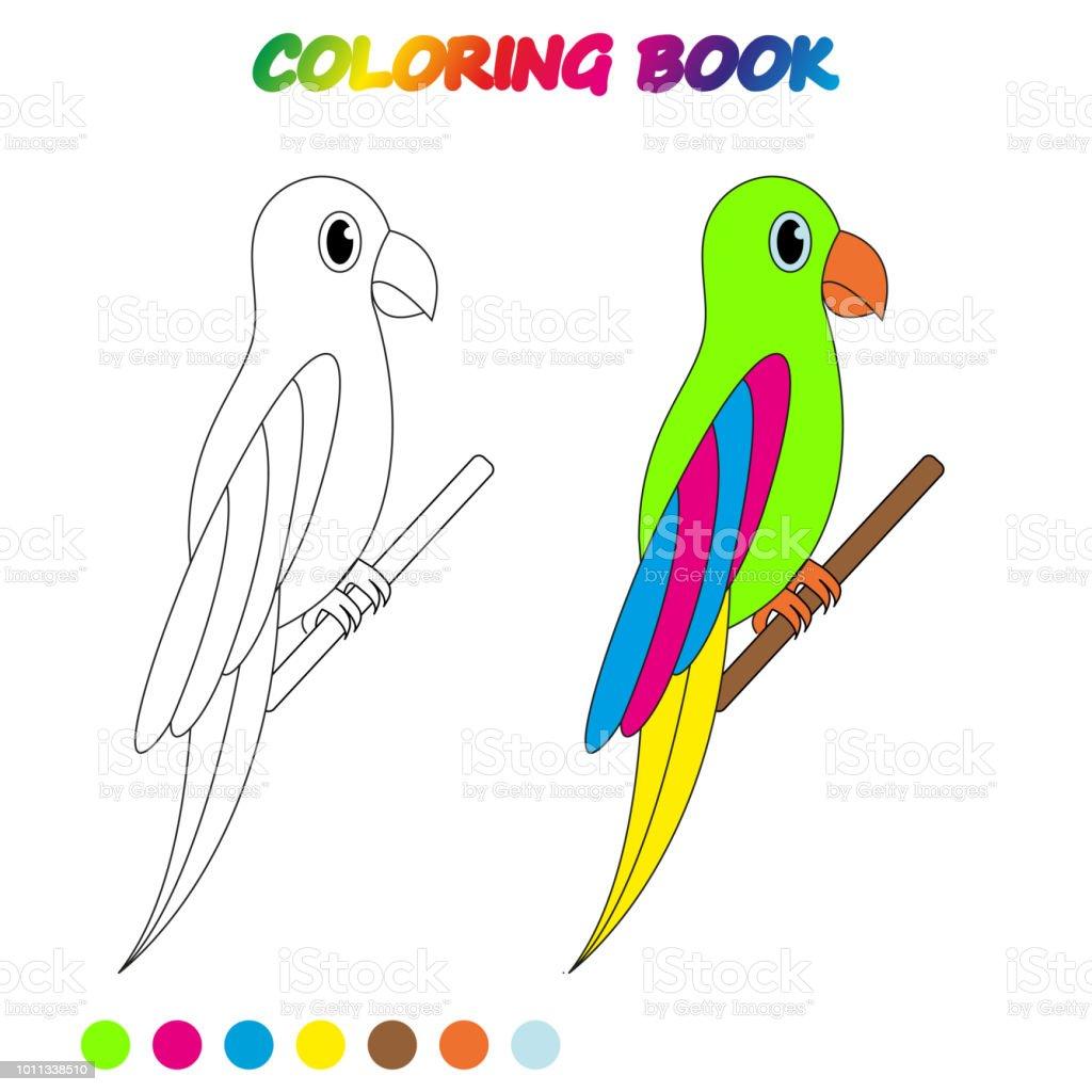 Papagan Boyama Kitabi Calisma Sayfasi Cocuklar Sayfa Boyama Icin