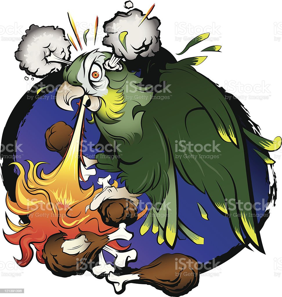 Parrot Eating Hot Chicken Wings vector art illustration