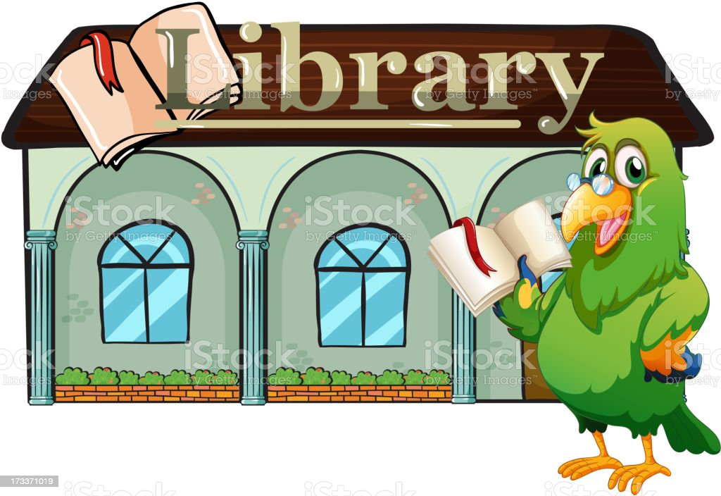 Parrot holding a book outside the library royalty-free parrot holding a book outside the library stock vector art & more images of animal