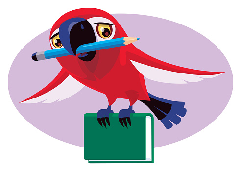 parrot holding pencil and book