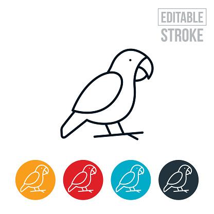 Parrot Thin Line Icon - Editable Stroke