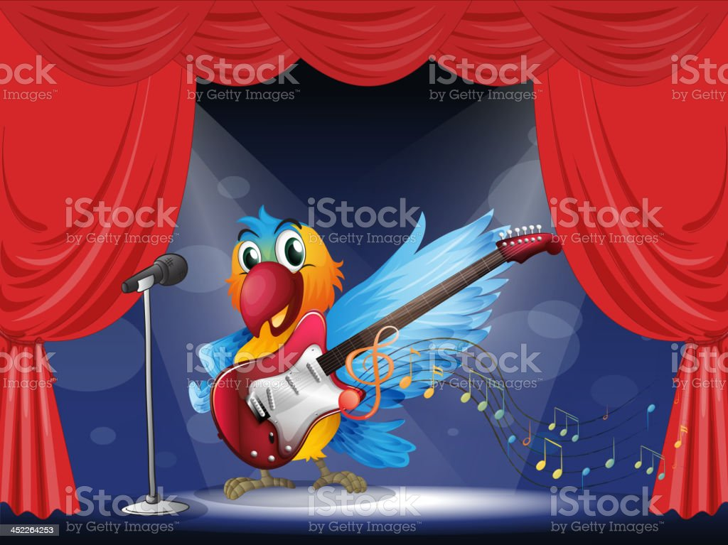 parrot with a guitar at the stage royalty-free stock vector art