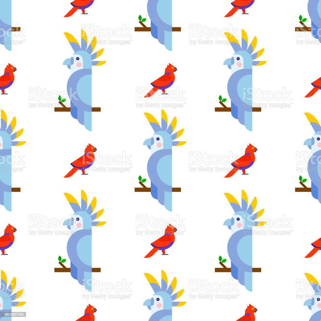 Parrots birds seamless pattern animal nature tropical parakeets...