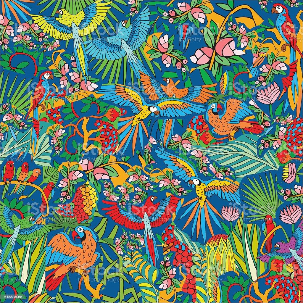 Parrots in the Jungle. Hand Drawn Tropical Life Pattern. - ilustração de arte em vetor