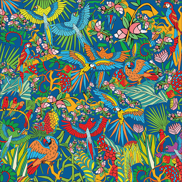 Parrots in the Jungle. Hand Drawn Tropical Life Pattern. Parrots in the Jungle. Hand Drawn Tropical Life Pattern. Background on the Jungle theme. amazon stock illustrations