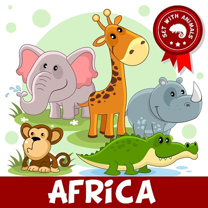 1 Part Animals Of Africa Stock Illustration - Download Image Now