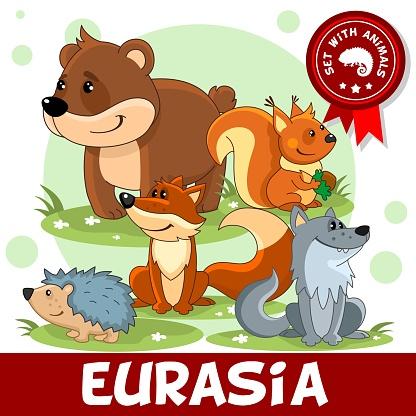 2 부분입니다 유라시아의 동물입니다 개체 그룹에 대한 스톡 벡터 아트 및 기타 이미지