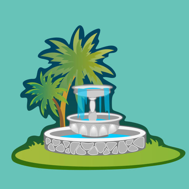 Part from Set of outdoors fountain for gardening, spring and summer plants around garden waterfall, autumn back yard decorative stone statue vector illustration vector art illustration