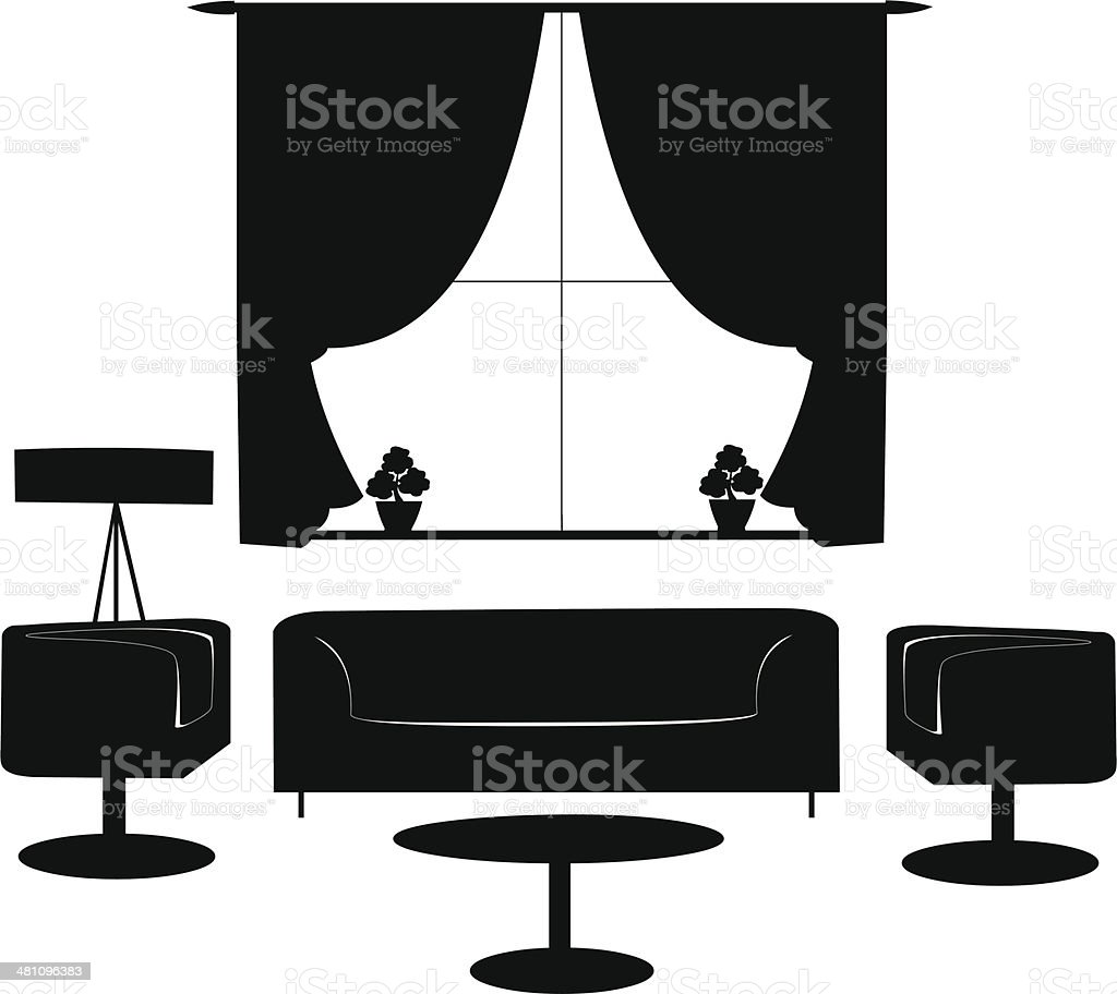Part of a modern living room with modern furniture silhouette