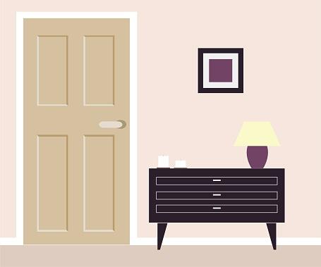 Part of room with nightstand and door