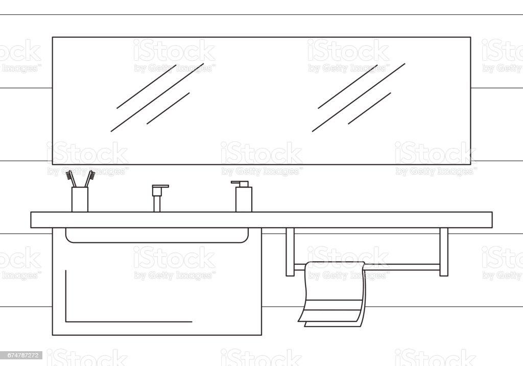 Spiegel, Top Und Hängende Schrank. Vektor Illustration In Einem