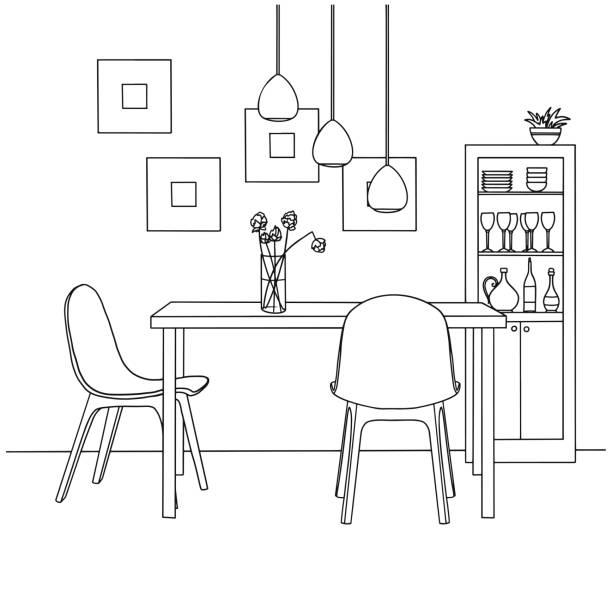 ダイニングルームの一部です。花のテーブル花瓶の上に。 ランプがテーブルの上にハングアップする。手描きのスケッチ。ベクターイラスト。 - 椅子 家具点のイラスト素材/クリップアート素材/マンガ素材/アイコン素材