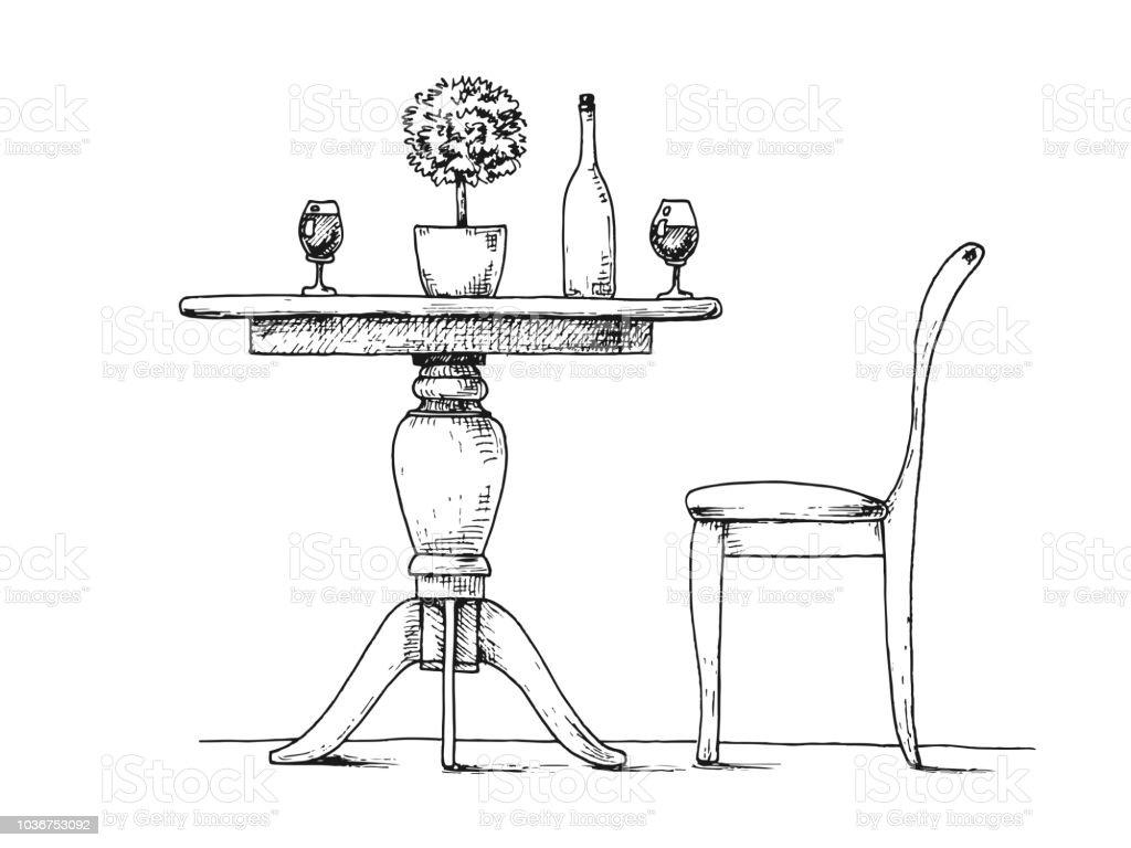 Ronde Tafel En Stoelen.Een Deel Van De Eetkamer Ronde Tafel En Stoelen Op De Tabel Vaas Met