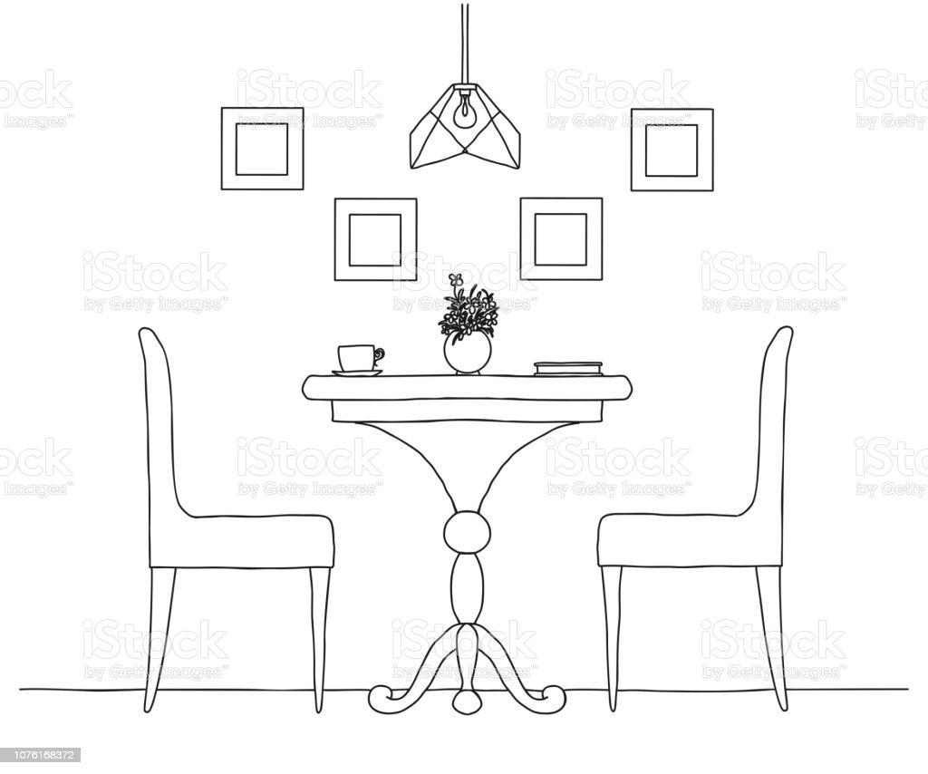 Partie La Vase À Et Le Manger Sur Salle Table Ronde Chaises De 4RL3jA5
