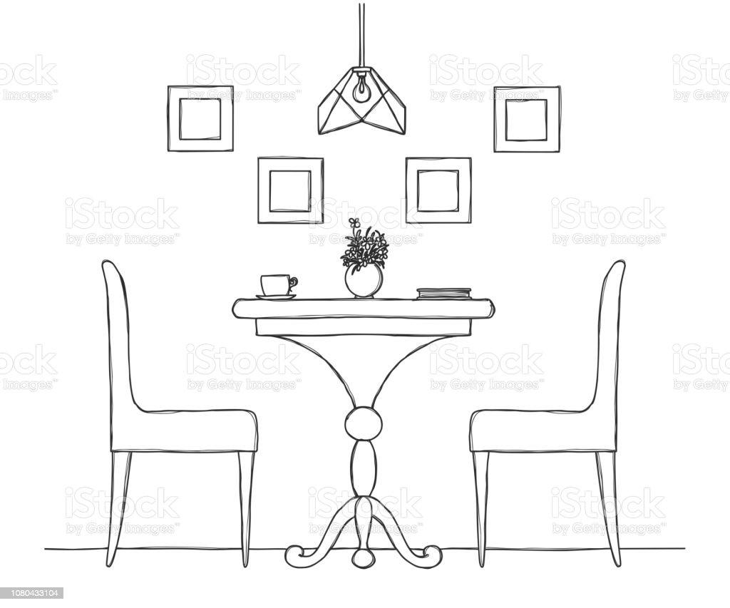 Partie Le Et Sur Table À La De Manger Ronde Vase Salle Chaises lTK1FJc