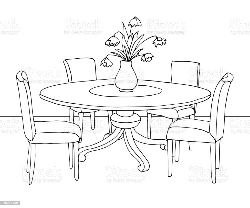 part of the dining room round table and chairson the table On comedor para colorear