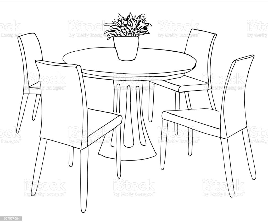 Round Table And Chairs.On The Table Vase Of