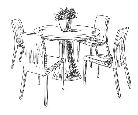 En Del Av Matsalen Runda Bord Och Stolar På Den Tabell Vas Med Blommor Hand Ritad Skiss Vektorillustration vektorgrafik och fler bilder på Arbeta