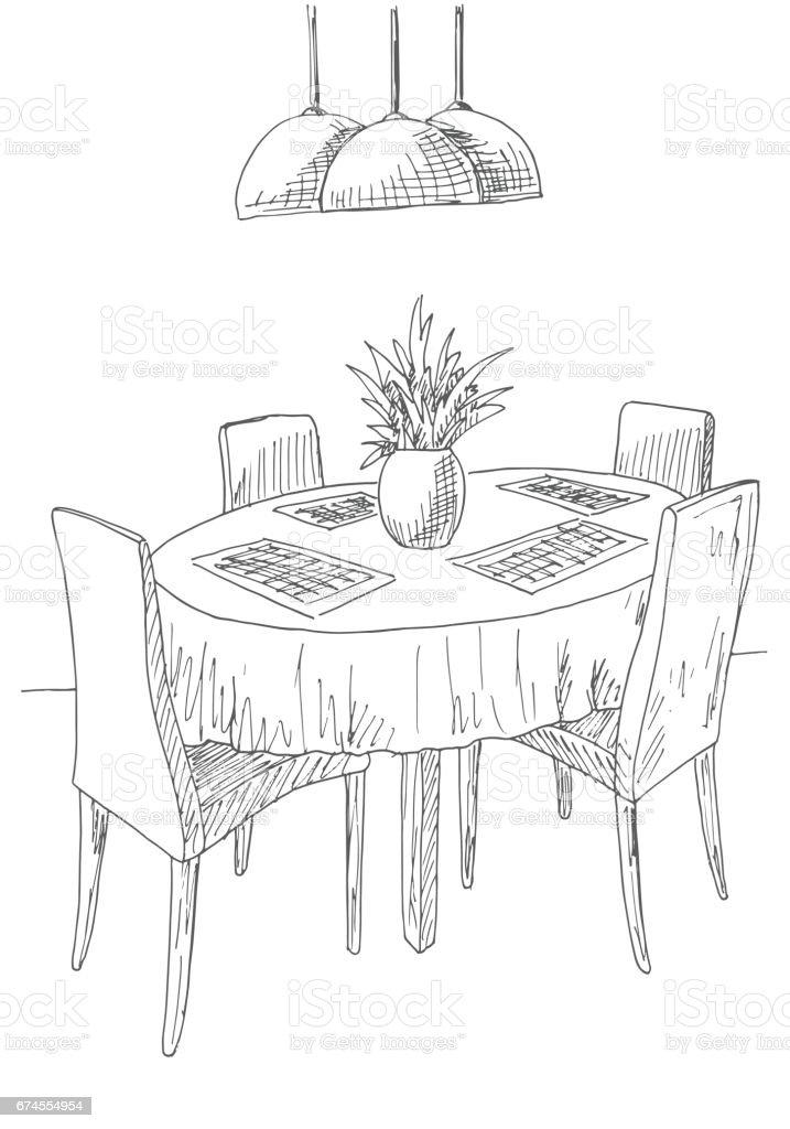 Tisch gezeichnet  Teil Des Speisesaals Runder Tisch Und Stühle Auf Dem Tisch Vase ...