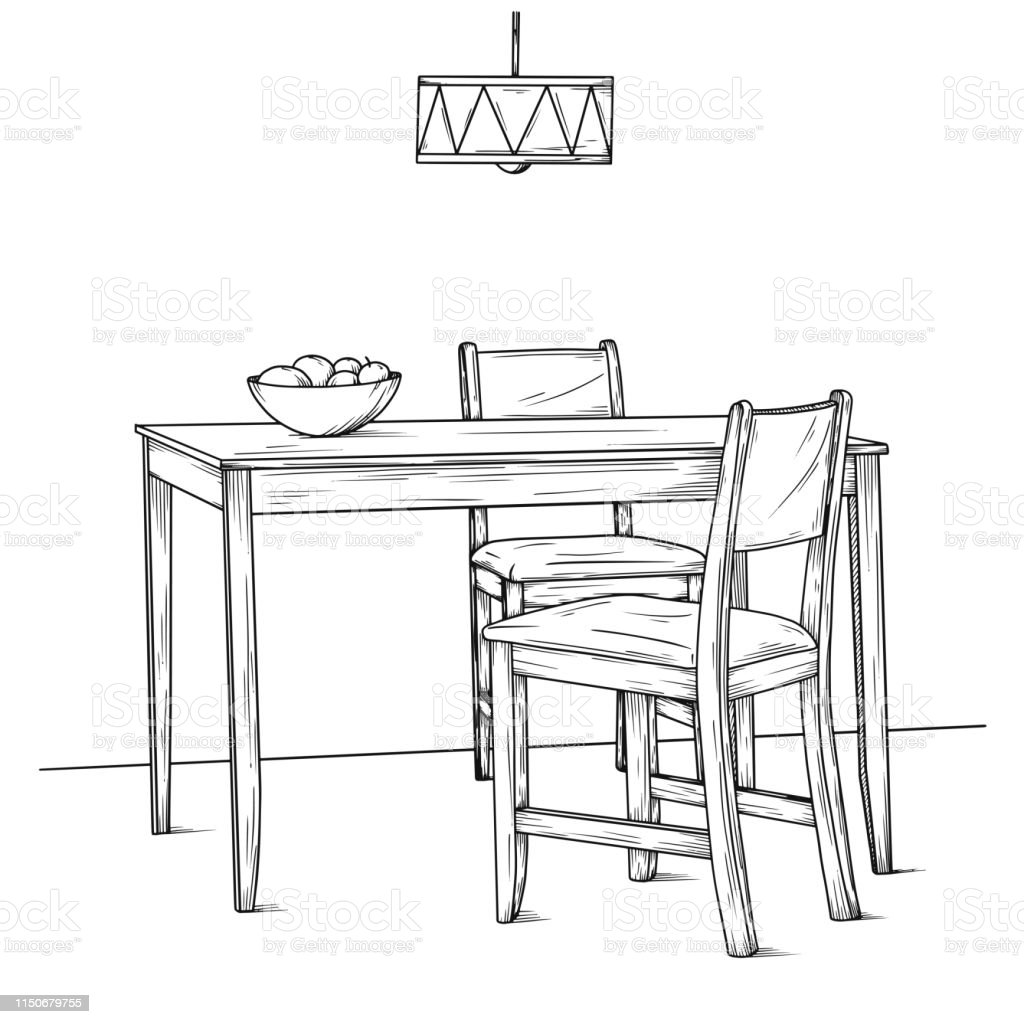 Part Of The Dining Room Table And Chairs Hand Drawn Sketch