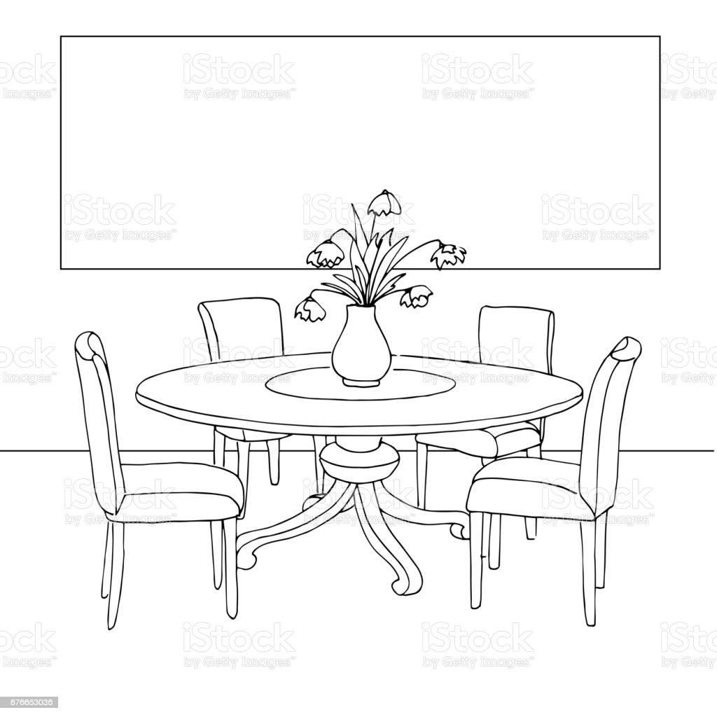 Teil Des Speisesaals Tisch Und Stühle Auf Dem Tisch Vase Mit Blumen