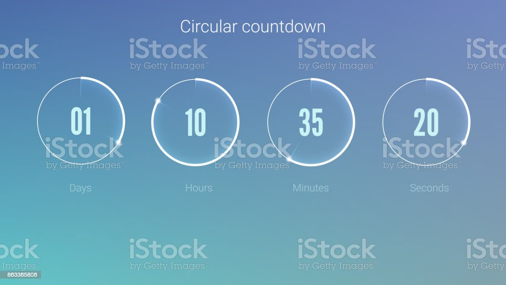 Part of the User interface, circular clock. Clock application, UI elements. Design of countdown timer for coming soon or under construction action. Template of count days, hours, minutes and seconds vector art illustration