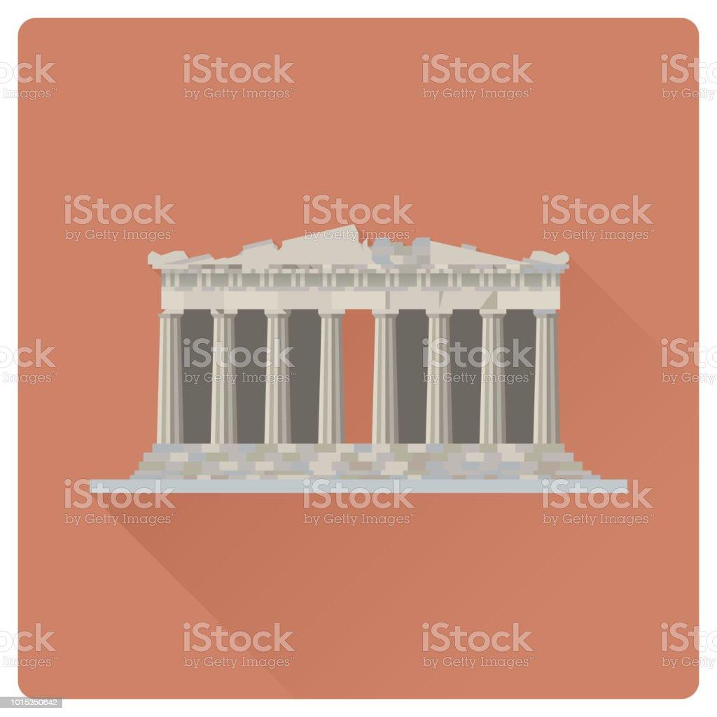 Parthenon temple at Acropolis citadel, Athens, Greece, flat design vector illustration vector art illustration